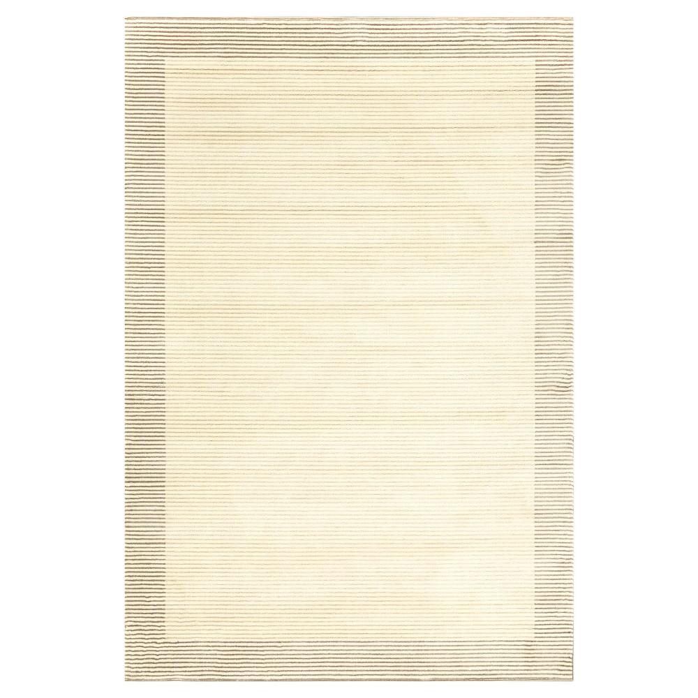 5'X8' Thin Stripe Woven Area Rugs Cream/Gray - Room Envy, Gray Off-White