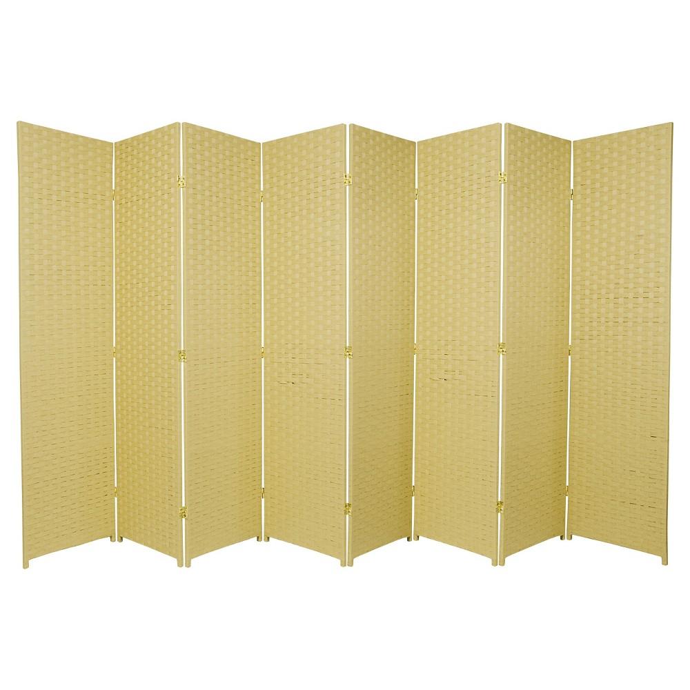6 ft. Tall Woven Fiber Room Divider - Dark Beige (8 Panel)