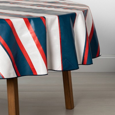70  Tablecloth Round Oil Cloth Canvas Americana Blue / Red Stripe - Hearth & Hand™ with Magnolia