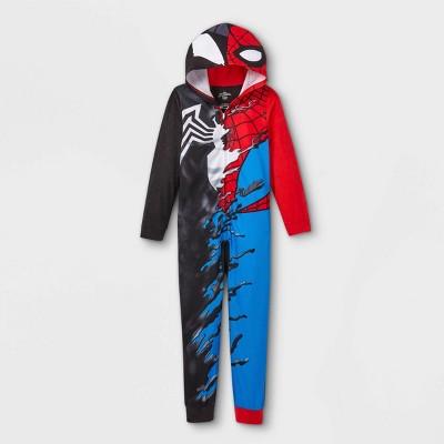 Boys' Marvel Venom Spider-Man Blanket Sleeper Union Suit - Black
