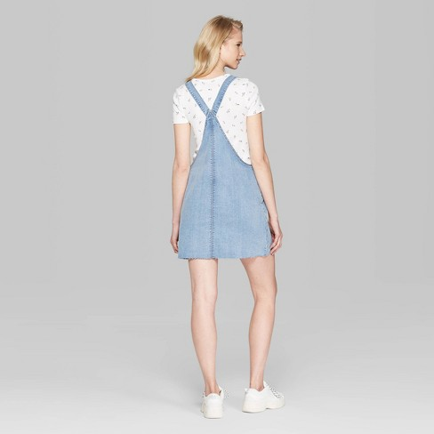 d5cabbb44 Women's Sleeveless Denim Pinafore Mini Dress - Wild Fable™ Medium ...