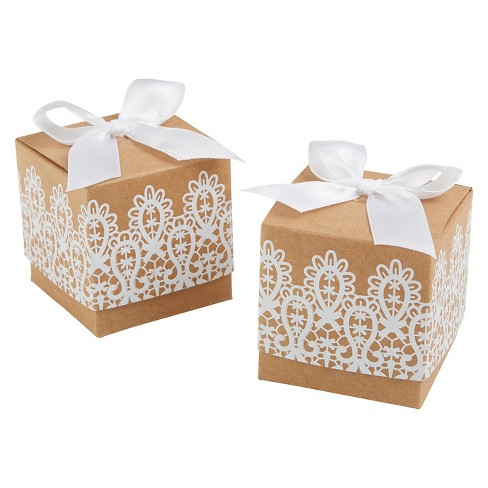 "24ct ""Rustic & Lace"" Kraft Favor Box - image 1 of 1"