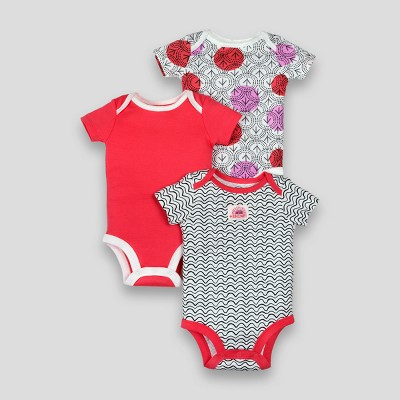 Lamaze Baby Girls' Organic Arrow Line Print 3pk Bodysuits - Pink 3M