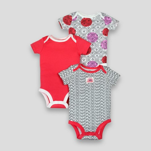 Lamaze Baby Girls' Organic Arrow Line Print 3pk Bodysuits - Pink - image 1 of 2