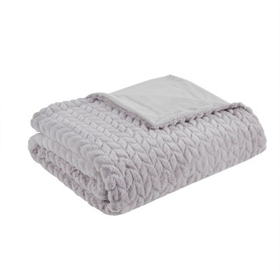 "50""x60"" Olivia Carved Serengeti Fur Throw Blanket Gray"