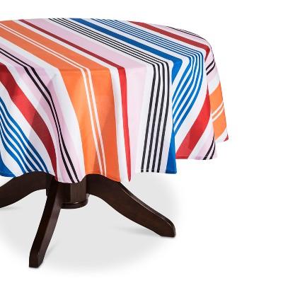70R Orange Stripe Round Wipeable Fabric Tablecloth
