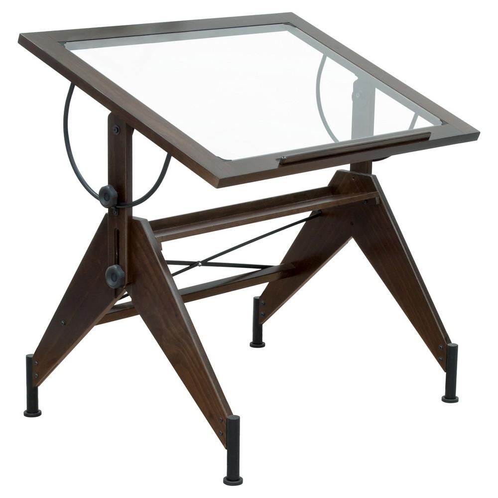 Aries Glass Top Table Dark - Walnut/Black, Dark Walnut