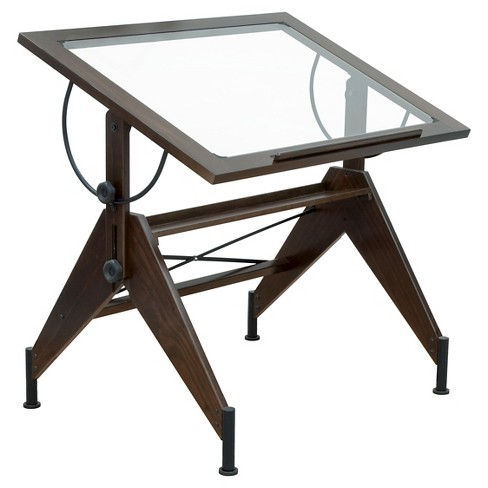 Aries Glass Top Table Dark - Walnut/Black - image 1 of 3