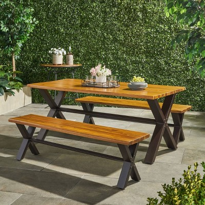 Sanibel 3pc Acacia Wood Dining Set - Teak Finish with Rustic Metal - Christopher Knight Home