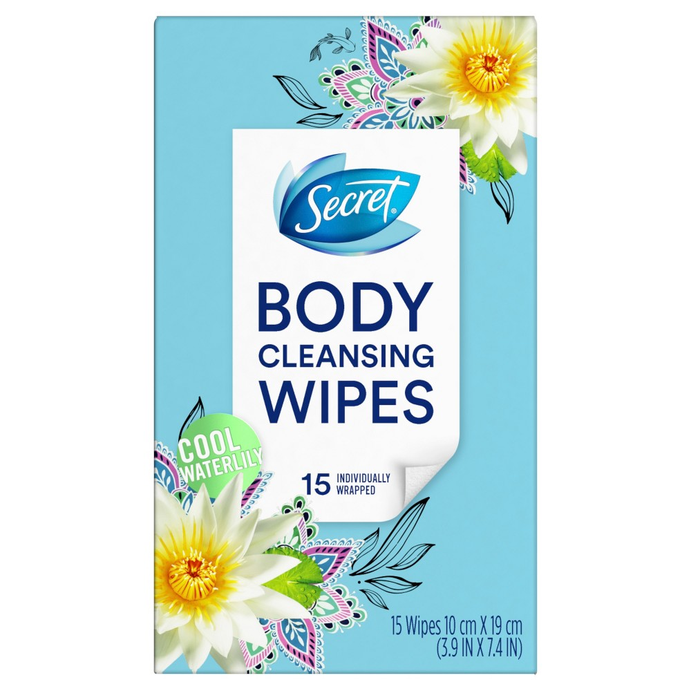 Secret Cool Waterlily Deodorant Wipes - 15ct
