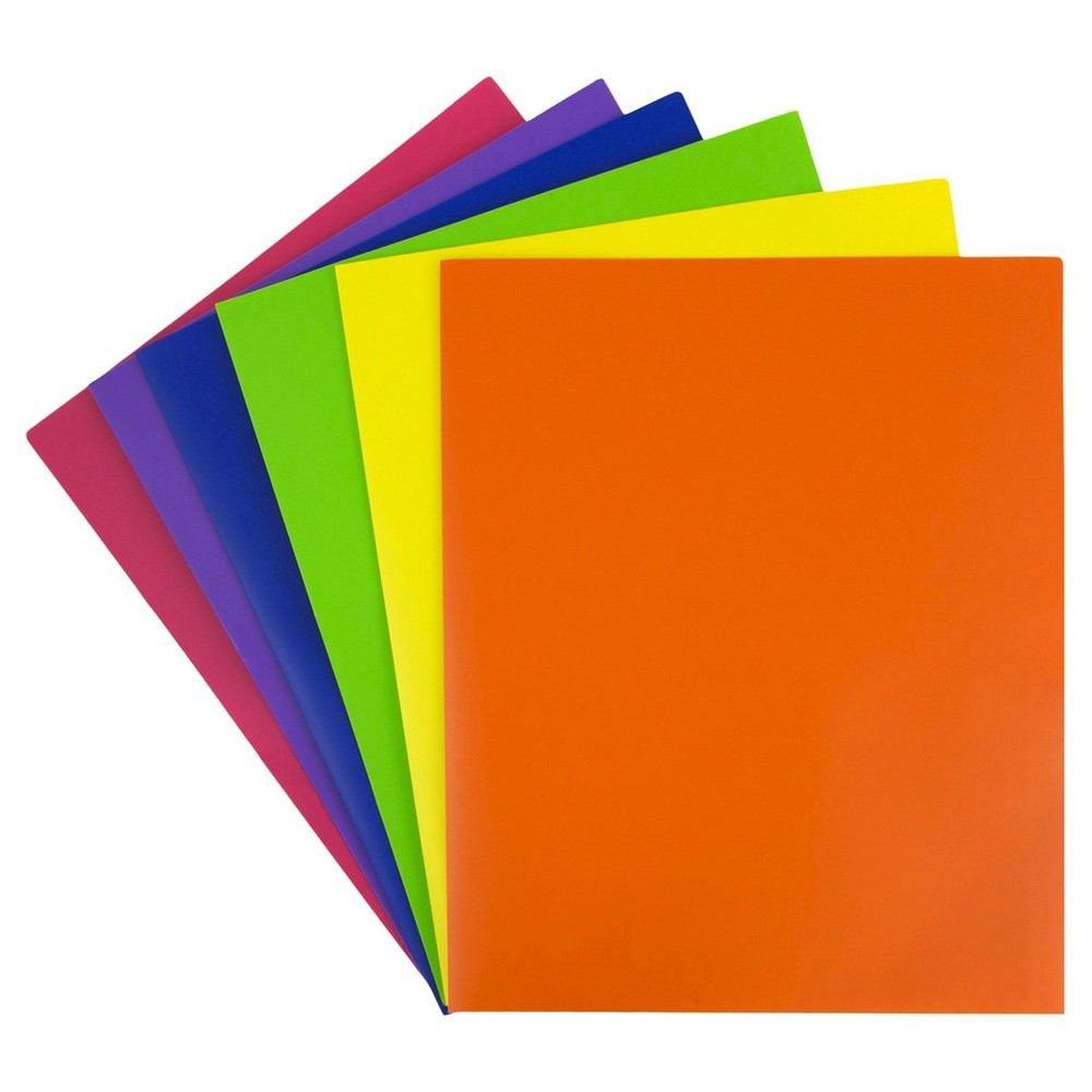 Image of JAM Paper 6pk 2 Pocket School POP Plastic Folder - Assorted Primary Colors