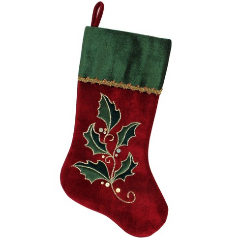 """Northlight 21"""" Red and Green Holly Embroidered Velvet with Metallic Gold Trim Christmas Stocking - image 1 of 2"""