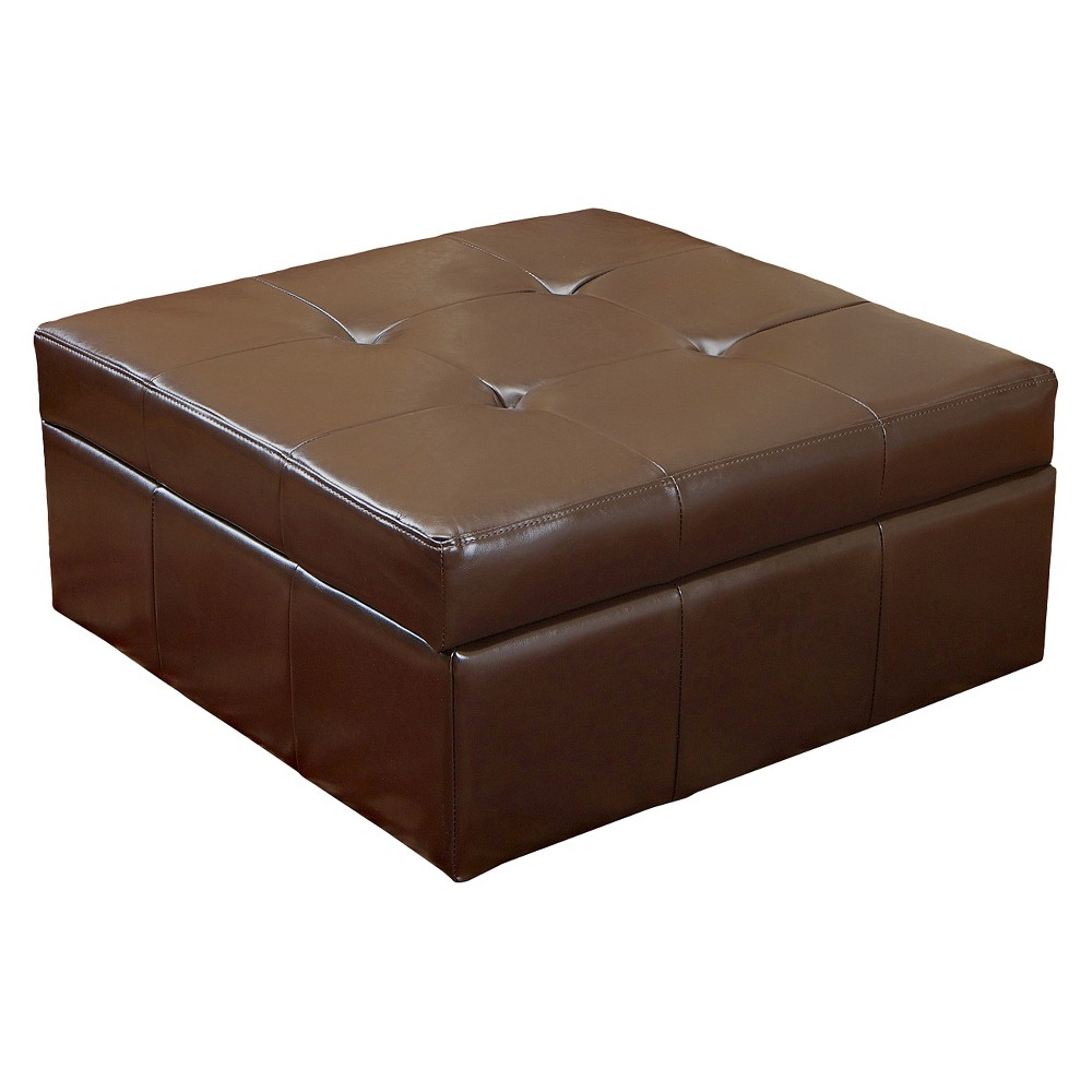 Chatsworth Brown Leather Storage Ottoman - Brown - Christopher Knight Home