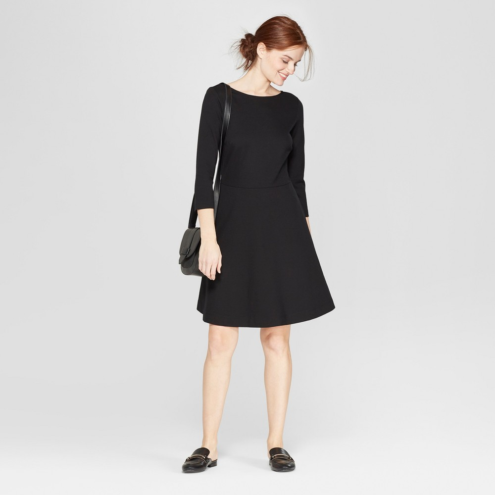 Women's Relaxed Fit 3/4 Sleeve Crew Neck A-Line Ponte Dress - A New Day Black XS