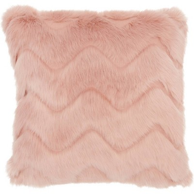Chevron Faux Fur Blush Throw Pillow - Mina Victory : Target