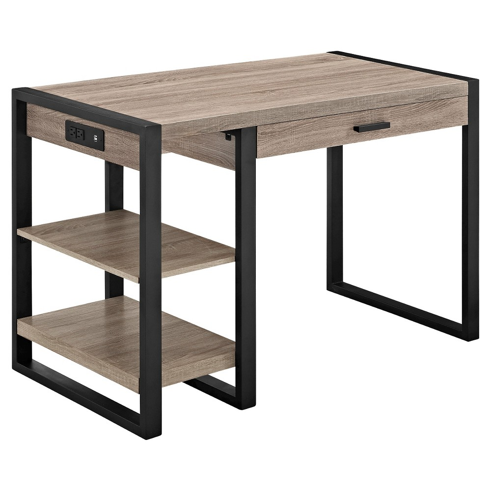 Home Office 48 Wood Storage Computer Desk - Driftwood - Saracina Home, Grey