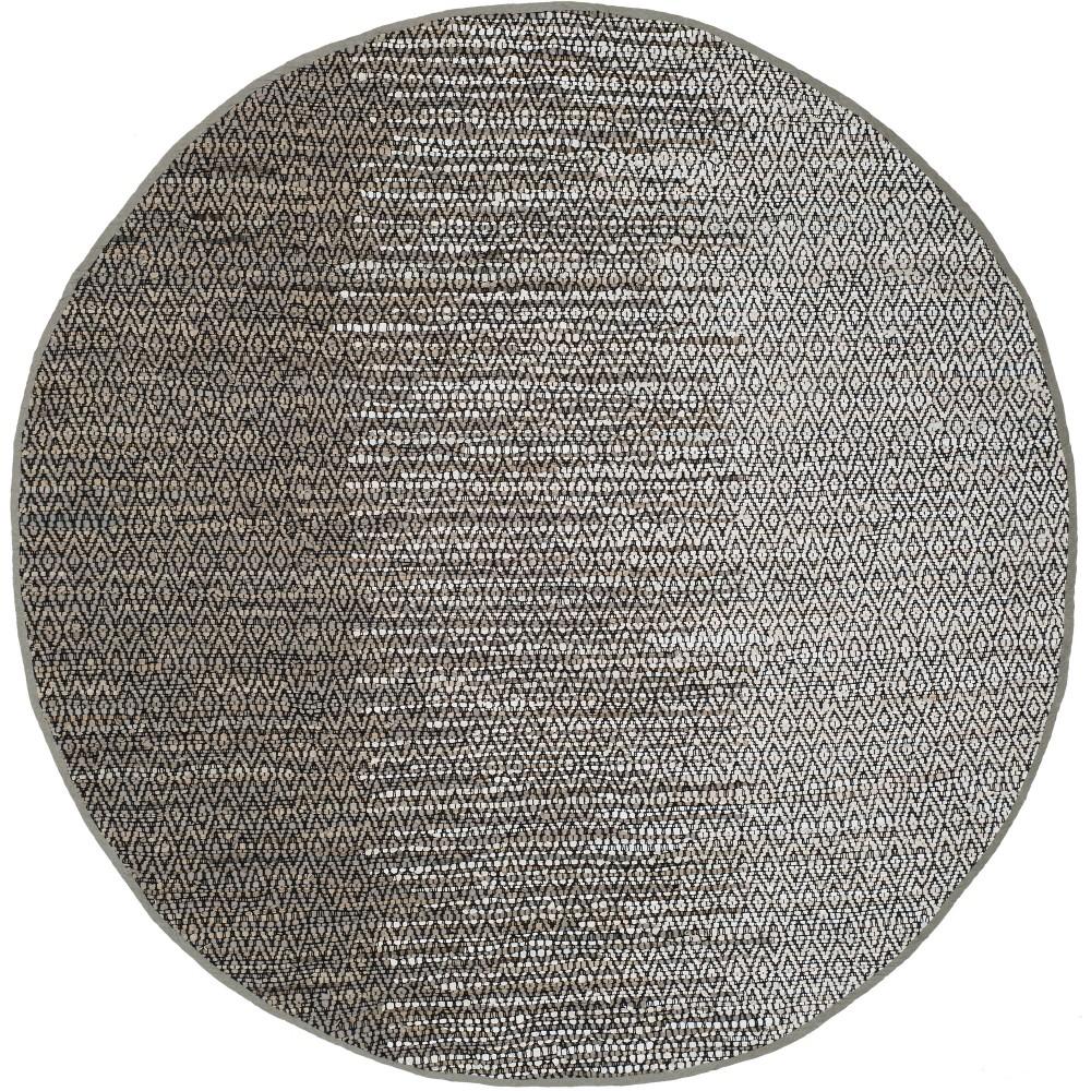 6 Geometric Woven Round Area Rug Gray - Safavieh Top