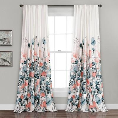 Zuri Flora Room Darkening Window Curtain Blue/Coral Set 52 X84  - Lush Decor