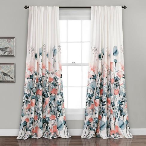 Zuri Flora Room Darkening Window Curtain Blue Coral Set 52