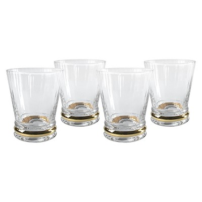 Artland Jewel Drinkware 9oz 4pk Double Old-Fashioned Glasses Gold Lining
