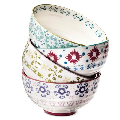 Abigail Floral Stoneware Cereal Bowls 19oz - Set of 4