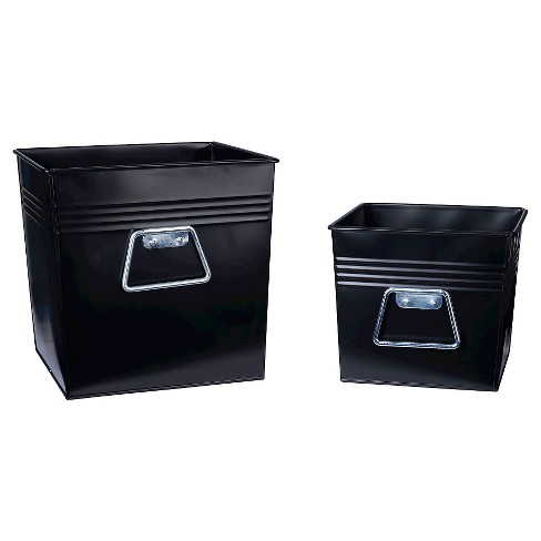 Household Essentials - 2 pc Set Decorative Metal Bins - Black - image 1 of 2