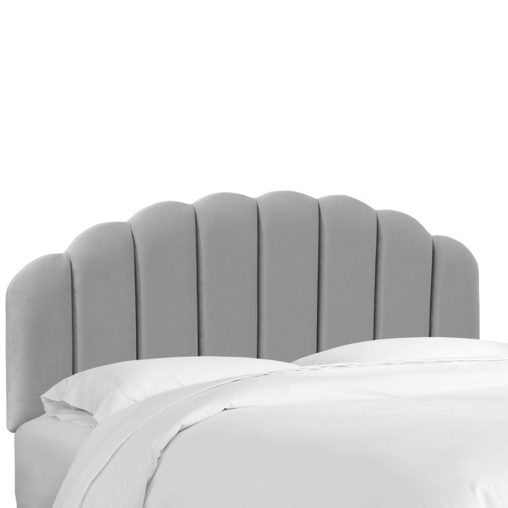 Full Shell Headboard Gray Velvet - Skyline Furniture