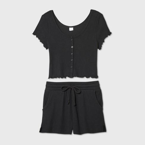 Women's Cozy Rib-Knit Short Sleeve Pajama Set - Colsie™ - image 1 of 1