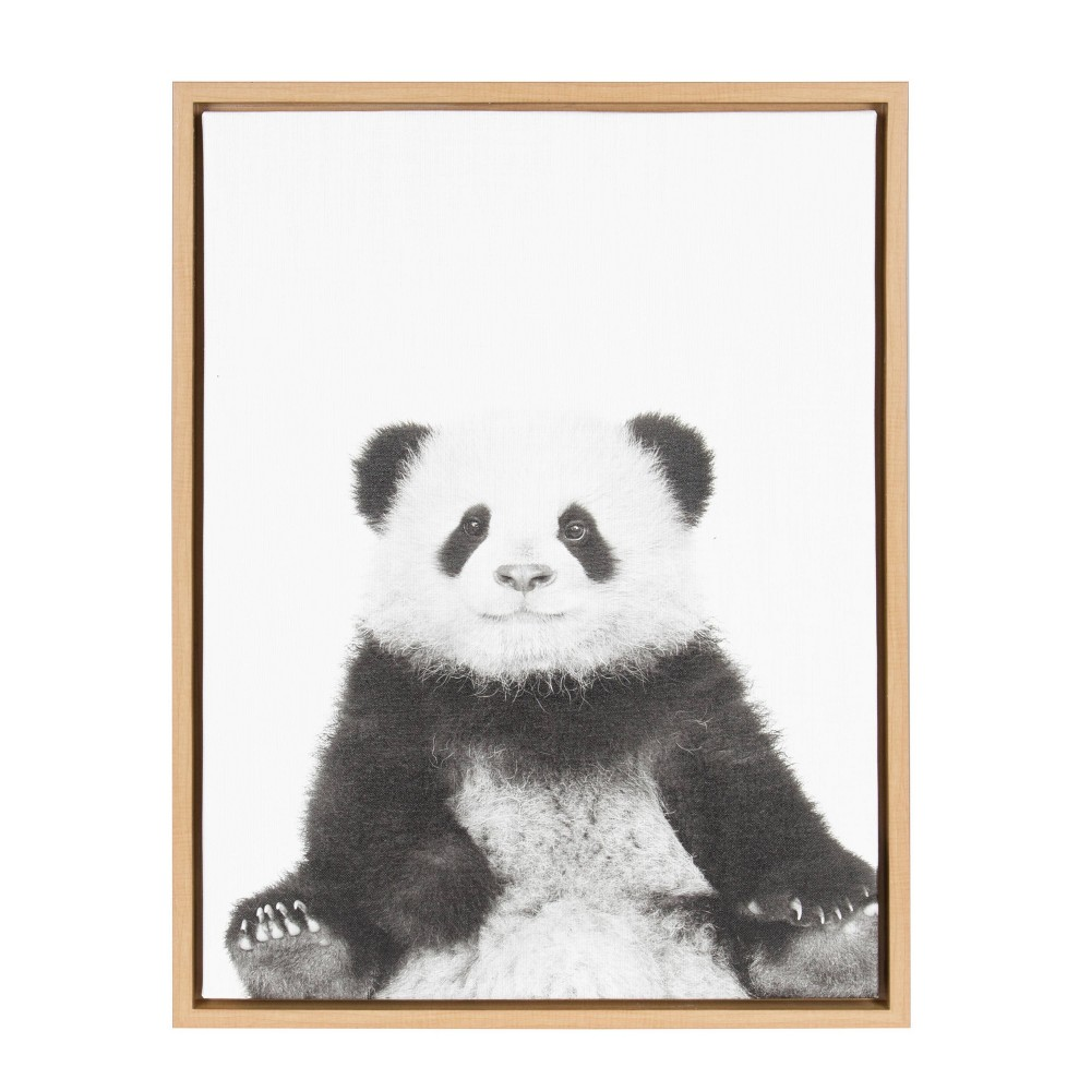 """Image of """"18""""""""x24"""""""" Slyvie Panda Framed Canvas By Simon Te Tai Natural - Kate and Laurel, Beige"""""""