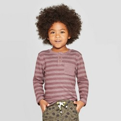 Toddler Boys' Specialty Rib Henley Long Sleeve T-Shirt - Cat & Jack™ Burgundy
