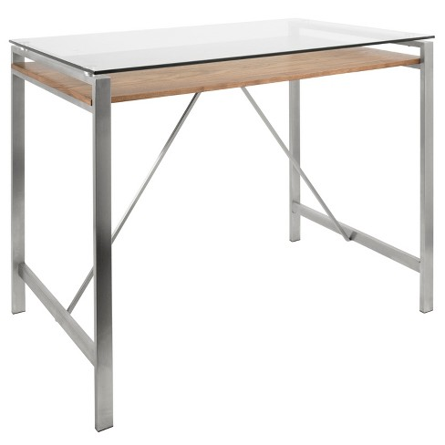 Hover Contemporary Counter Table With Brushed Stainless Steel Walnut Wood And Gl Top Lumisource