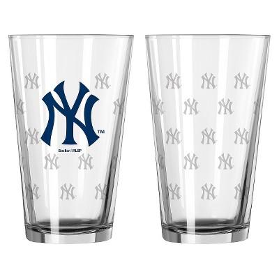 MLB Boelter Brands 2 Pk Pint Glass Set - 16oz - New York Yankees