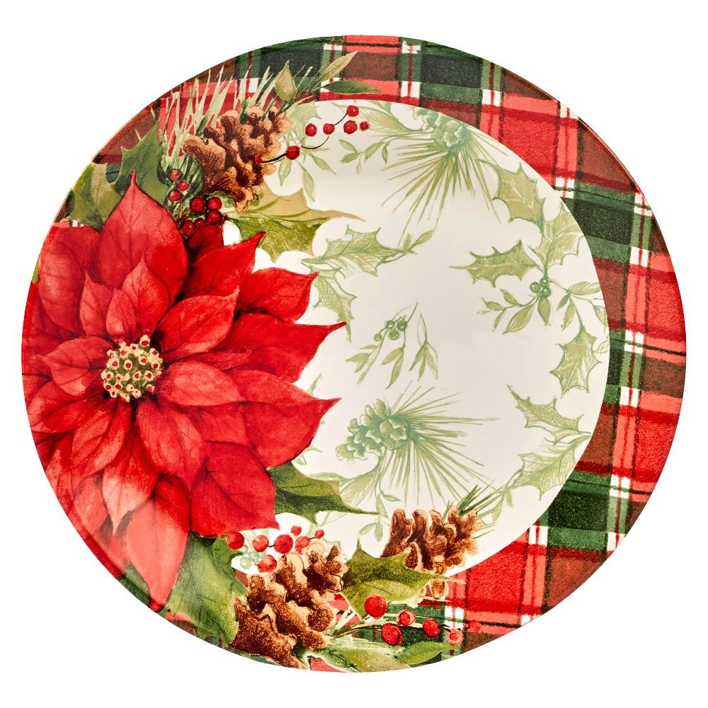 Certified International Winter Field Notes Round Ceramic Platter 13 Red