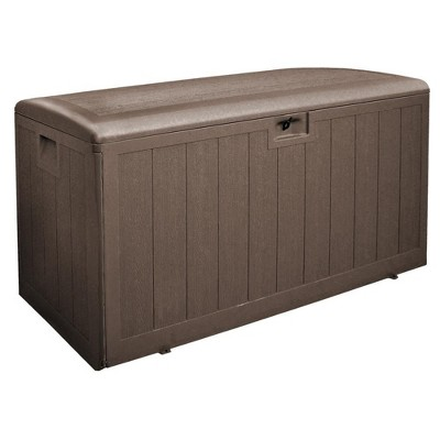 Plastic Development Group 130-Gallon Weather-Resistant Resin Outdoor Patio Storage Deck Box with Soft-Close Lid, Java