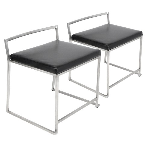 Marvelous Set Of 2 Fuji Modern Dining Chair Stainless Steel Black Lumisource Squirreltailoven Fun Painted Chair Ideas Images Squirreltailovenorg