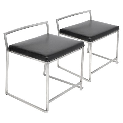 Set Of 2 Fuji Modern Dining Chair Stainless Steel/Black   LumiSource