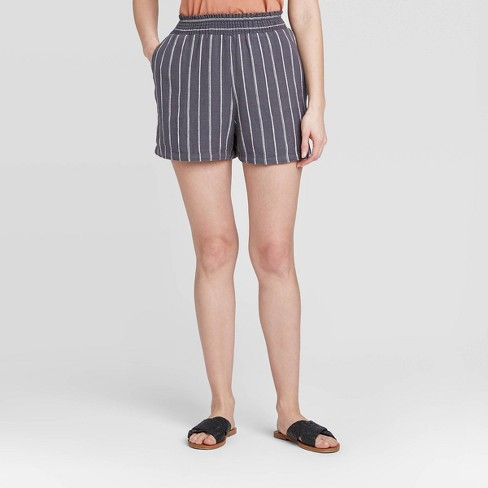 Women's Striped High-Rise Pull-On Shorts - Universal Thread™ - image 1 of 3