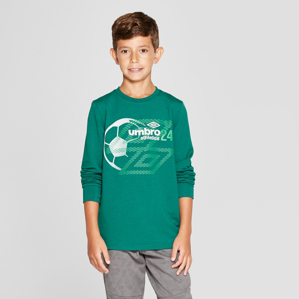 Umbro Boys' Long Sleeve Graphic T-Shirt - Green XL