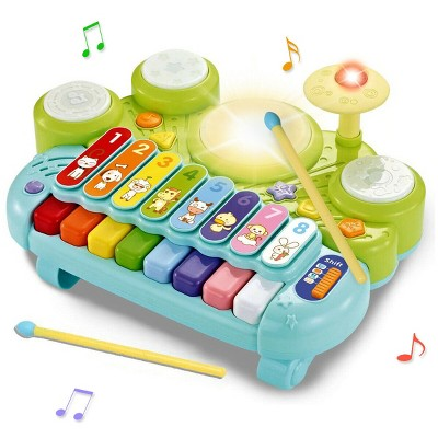 Costway 3 in 1 Musical Instruments Electronic Piano Xylophone Drum Set Learning Toys