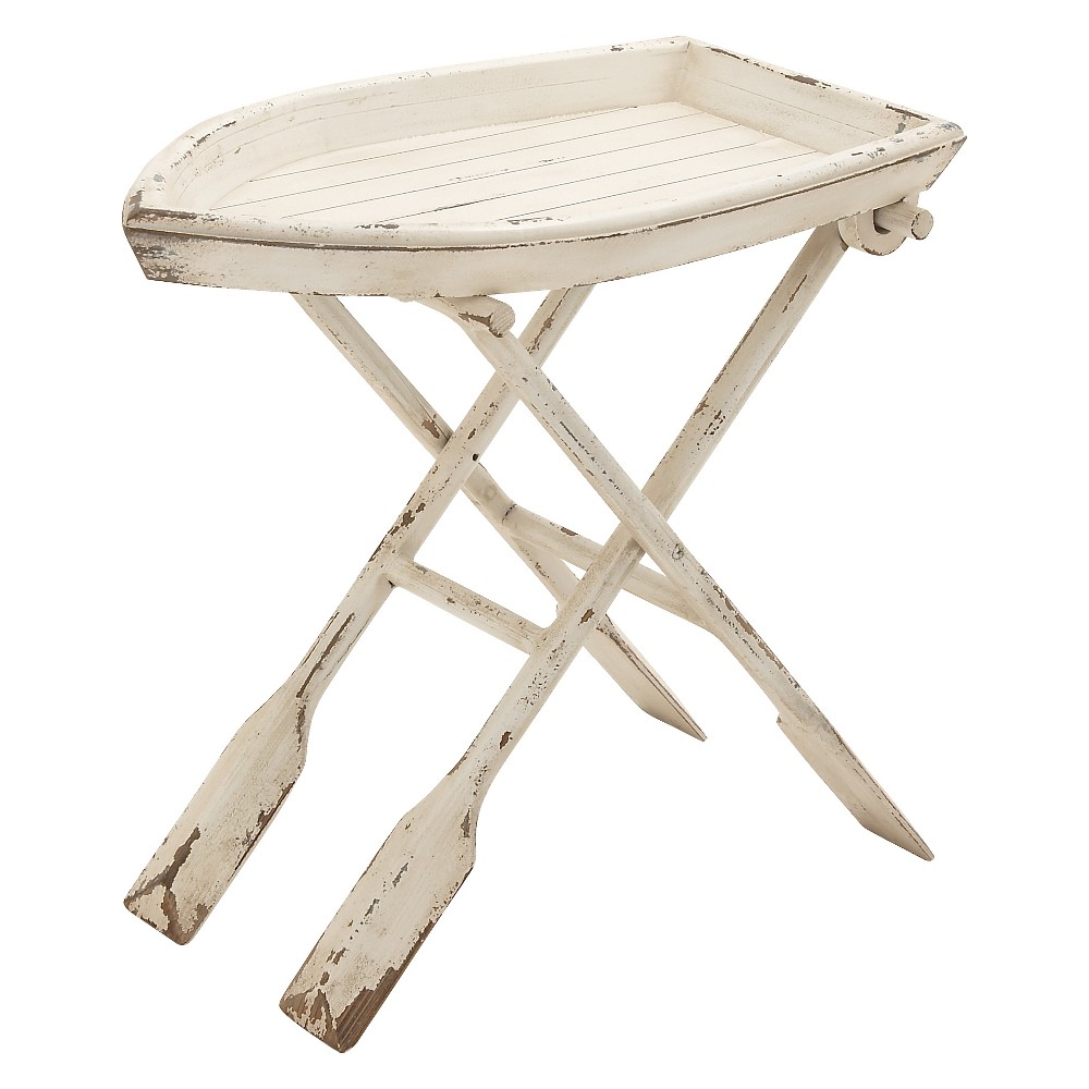Nautical Boat Shape Folding Table Taupe (Brown) - Olivia & May