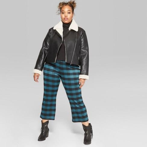 94ec584c1fcb0 Women s Plus Size Plaid Cropped Kick Flare Borrowed Pants - Wild Fable™ Teal