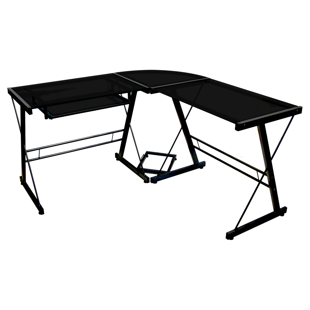 Glass L Shaped Computer Desk with Keyboard Tray Black - Saracina Home was $179.99 now $134.99 (25.0% off)