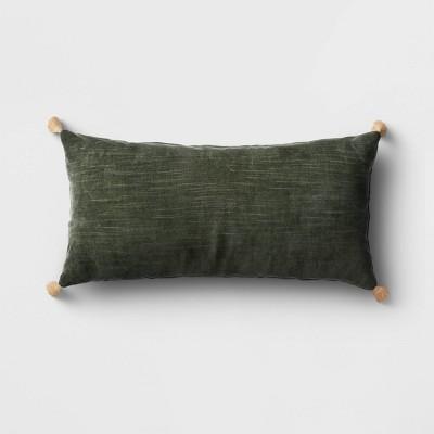 Oversized Velvet Lumbar Throw Pillow with Tassels Green - Threshold™
