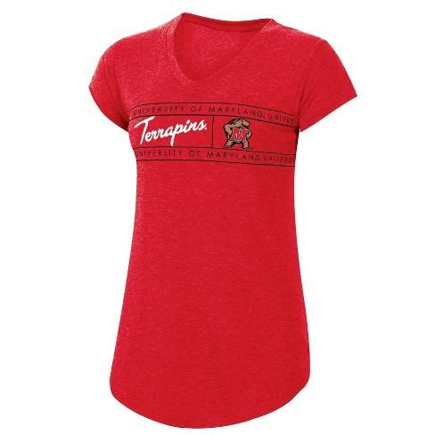 NCAA Maryland Terrapins Women's Short Sleeve Heather V-Neck T-Shirt - image 1 of 2