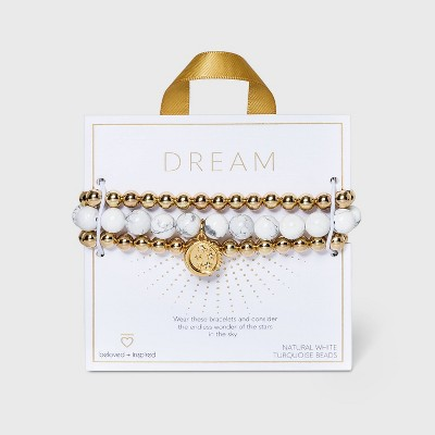 Beloved + Inspired Gold Howlite with Celestial Charm Trio Stretch Bead Bracelet Set - Gold