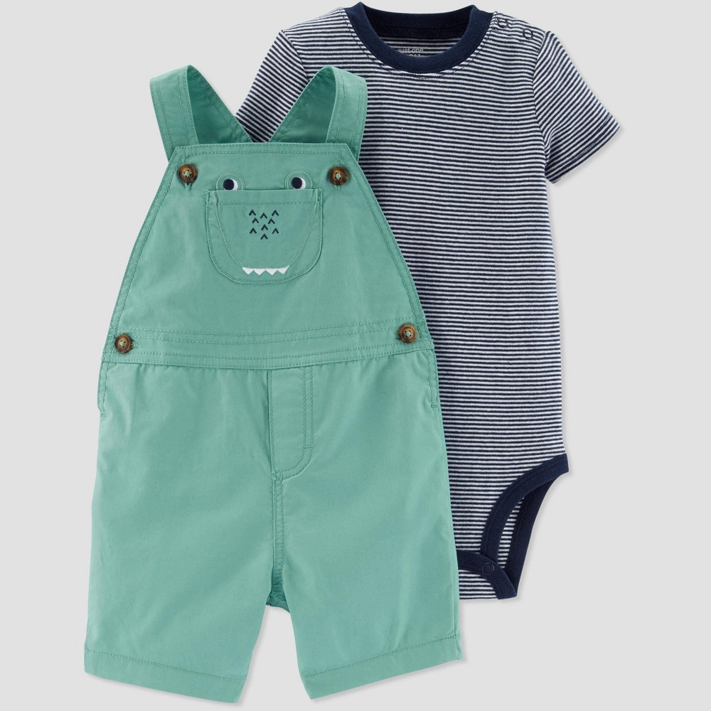 Baby Boys' 2pc Alligator Shortall Set - Just One You made by carter's Green/Gray 3M