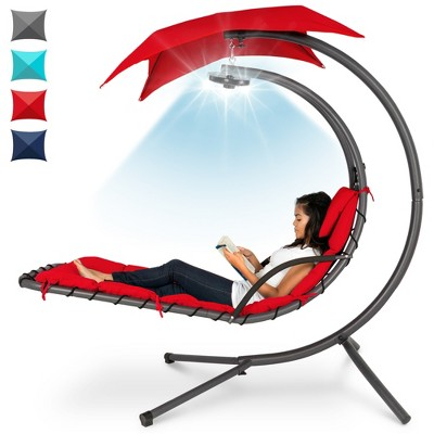 Best Choice Products Hanging LED-Lit Curved Chaise Lounge Chair for Backyard, Patio w/ Pillow, Canopy, Stand