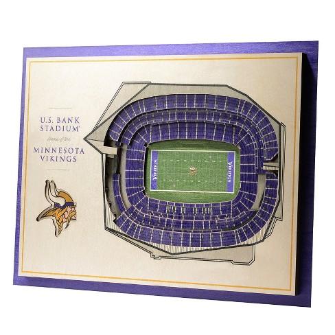 NFL Minnesota Vikings 5-Layer StadiumViews 3D Wall Art   Target 182502f8f
