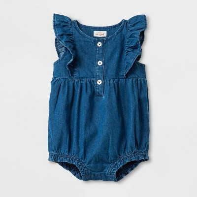 Baby Girls' Ruffle Sleeve Romper - Cat & Jack™ Blue 0-3M