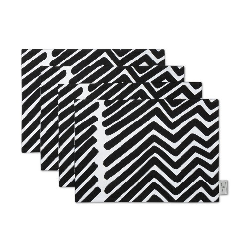"4pk 19""x14"" Reversible Cloth Placemats Black/White - Marimekko for Target - image 1 of 3"